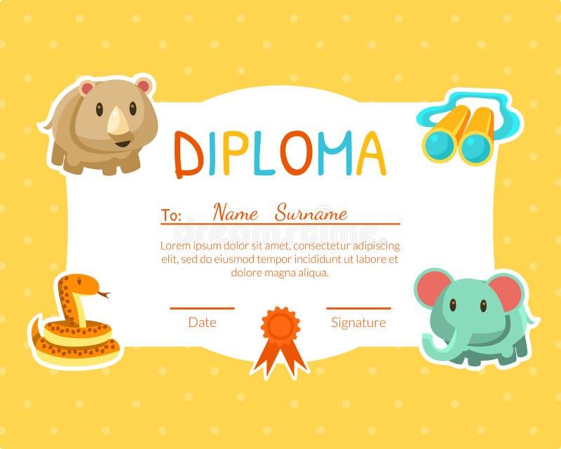 Dyplomu szablon dla dzieciaków z miejscem Dla Twój teksta, Preschool, dziecinów dzieci Żółty świadectwo z Ślicznym ilustracji