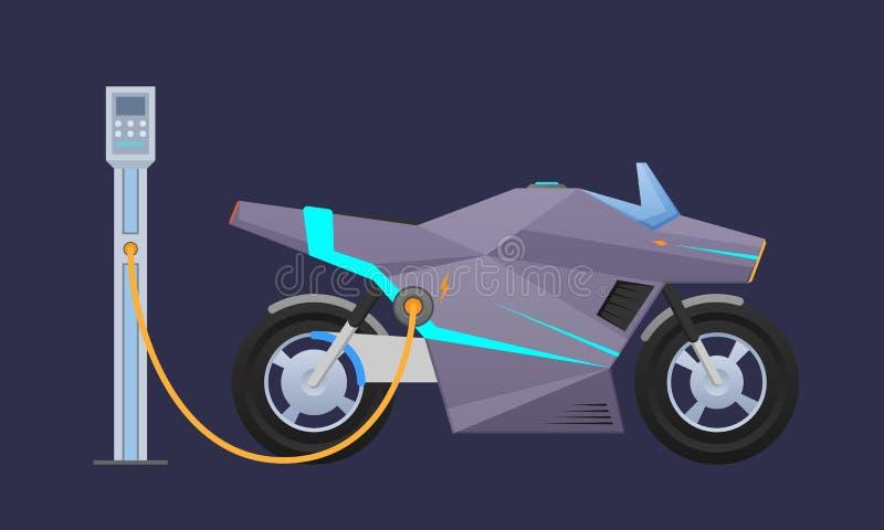 Dyr singel-Seat elektrisk motorcykel, moped nära stads` s som laddar den elektriska stationen vektor illustrationer