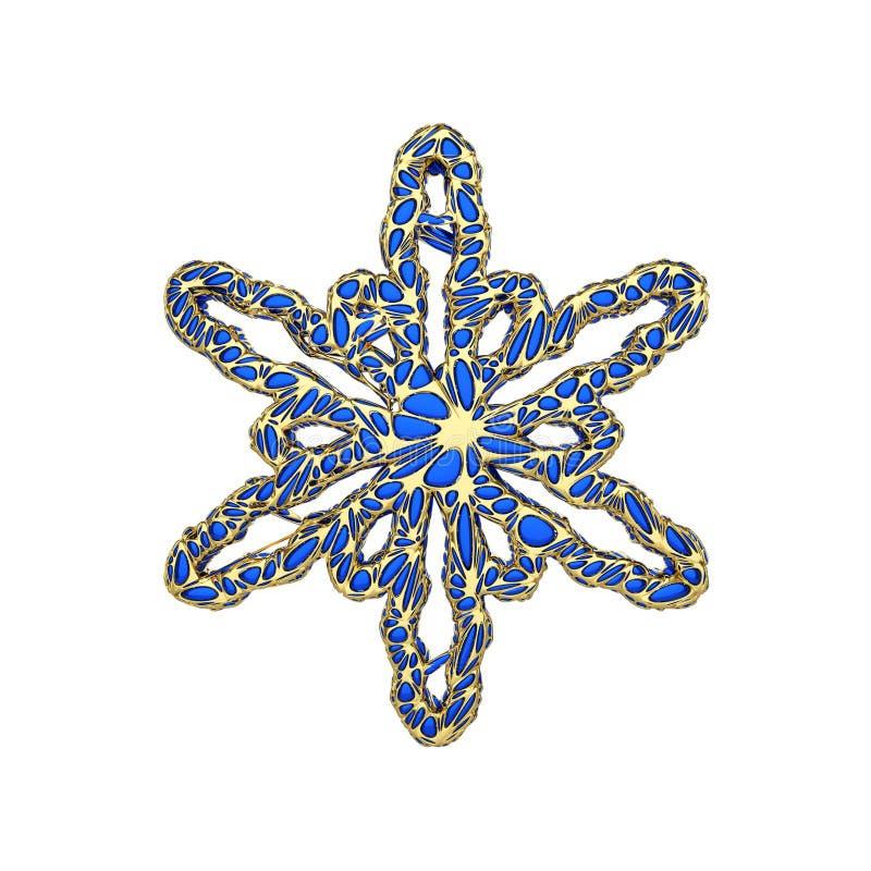 Dyrbar elegant snöflinga som isoleras på vit bakgrund Festlig beståndsdel för jul i openwork stil för smycken 3d framför vektor illustrationer