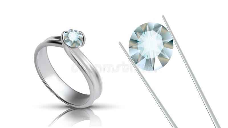 Dyrbar platina Ring With Round Gemstone Vector royaltyfri illustrationer