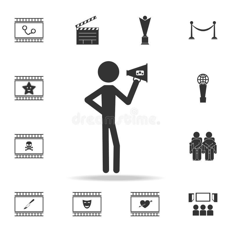 Dyrektor z róg ikoną Set kinowe element ikony Premii ilości graficzny projekt Znaki i symbol inkasowa ikona dla sieci ilustracja wektor