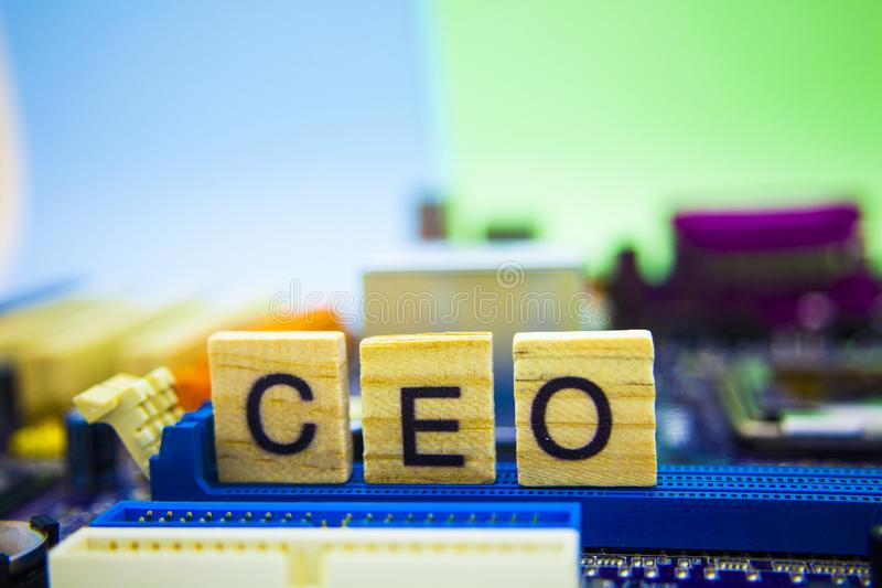 Dyrektora Generalnego interneta sland dla CEO, na drewnianych sześcianach z technologia komputeru tłem Listy na drewnianym zdjęcie royalty free