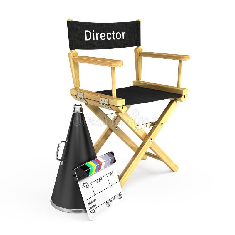 Dyrektora krzesło, clapper deska i megafon, royalty ilustracja