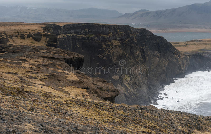 Dyrholaey Area in Iceland. Close to Black Sand Beach. Rocks. royalty free stock photography