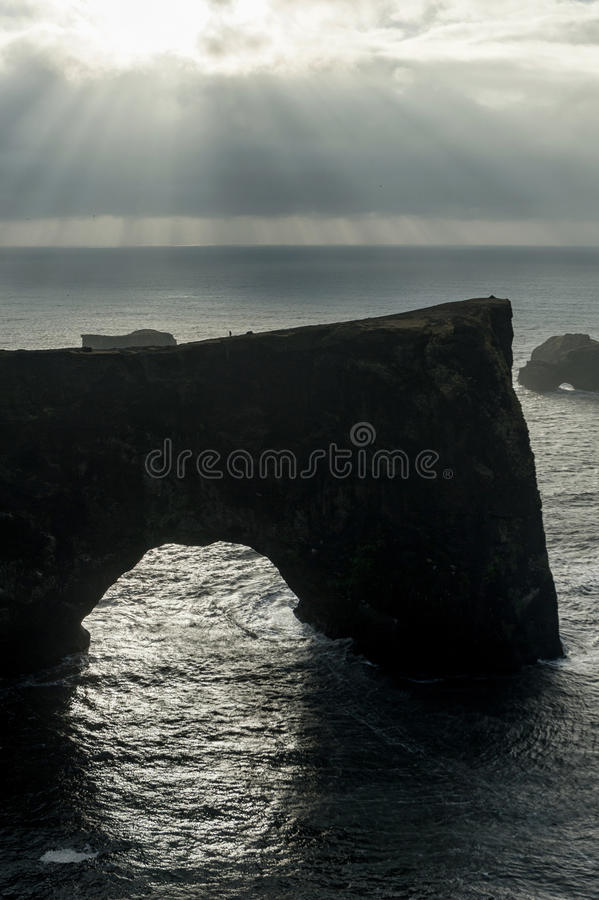 Dyrholaey Area in Iceland. Close to Black Sand Beach. Sunrise. Cloudy Sky stock images