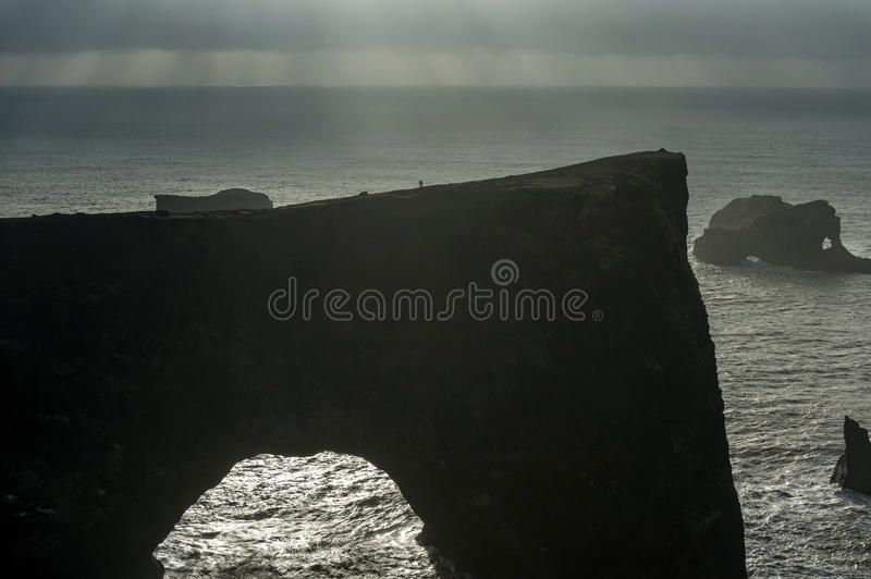 Dyrholaey Area in Iceland. Close to Black Sand Beach. Sunrise. Rocks in Background. stock photos