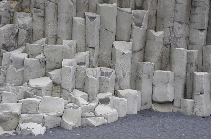 Dyrholaey columns - South Coast, Iceland. Dyrholaey on the South Coast of Iceland near Vik home of giant basalt columns (shown in the image) and spectacular royalty free stock photo