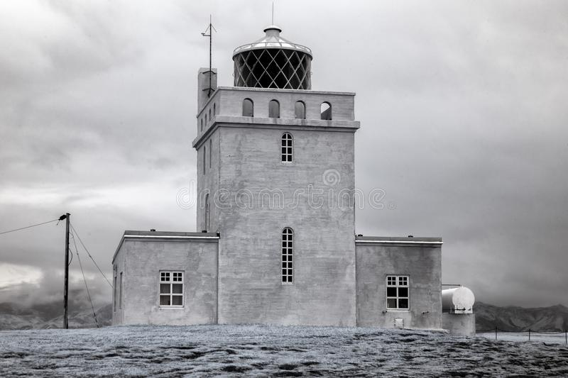 Dyrholaey Iceland Lighthouse in Infrared. The Dyrholaey Iceland Lighthouse near the town of Vik stock image