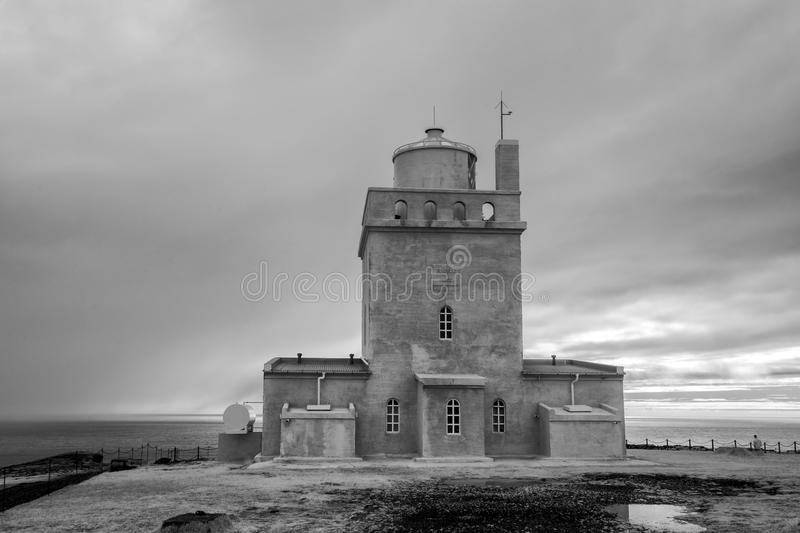 Dyrholaey Iceland Lighthouse in Infrared. The Dyrholaey Iceland Lighthouse near the town of Vik stock photography