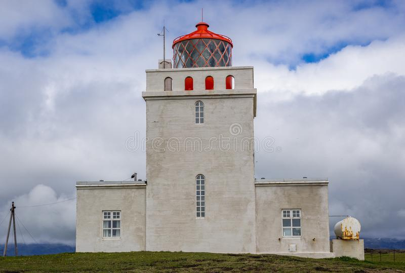 Dyrholaey latarnia morska w Iceland zdjęcie royalty free