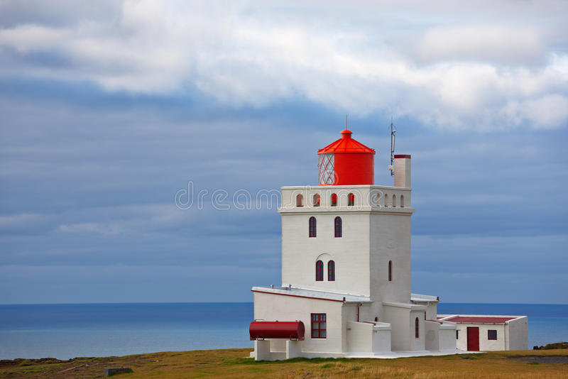 Dyrholaey lighthouse. Iceland. Built in 1927, standing on a high promontory near the southernmost point of Iceland stock images
