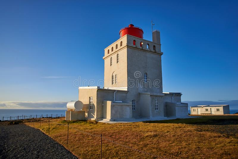 The Dyrholaey lighthouse. In Iceland royalty free stock images