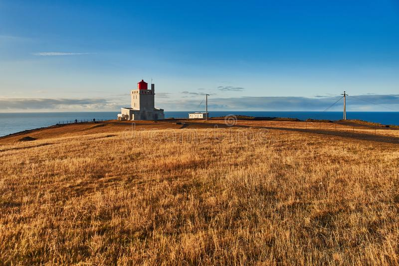 The Dyrholaey lighthouse. In Iceland royalty free stock photography