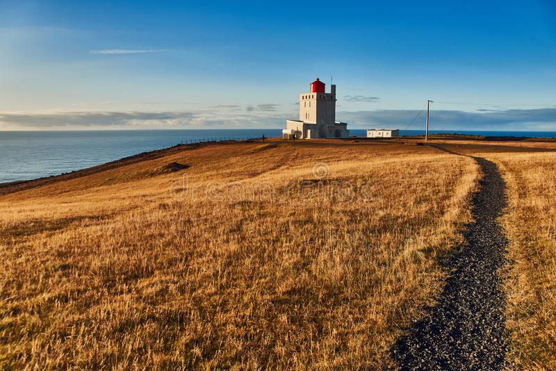 The Dyrholaey lighthouse. In Iceland stock photo