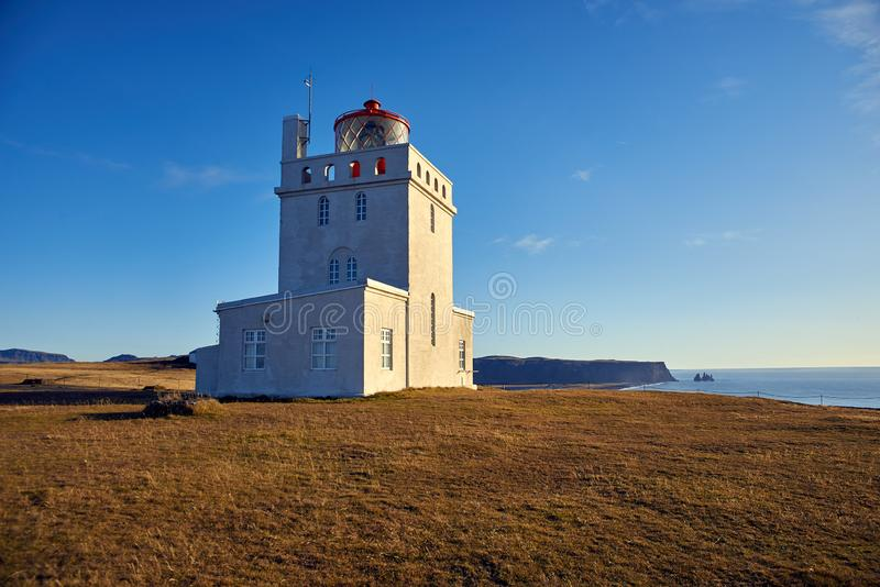 The Dyrholaey lighthouse. In Iceland stock photography