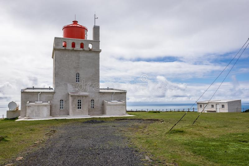 Dyrholaey lighthouse in Iceland. The old lighthouse on a Dyrholaey cape in south region of Iceland stock images