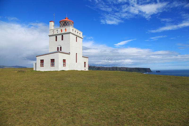 Dyrholaey Lighthouse in Iceland. Dyrholaey Lighthouse on a sunny day in Iceland stock photos