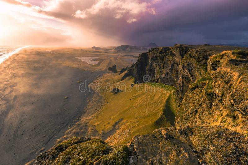 Dyrholaey - May 04, 2018: Coast of Dyrholaey, Iceland stock photo