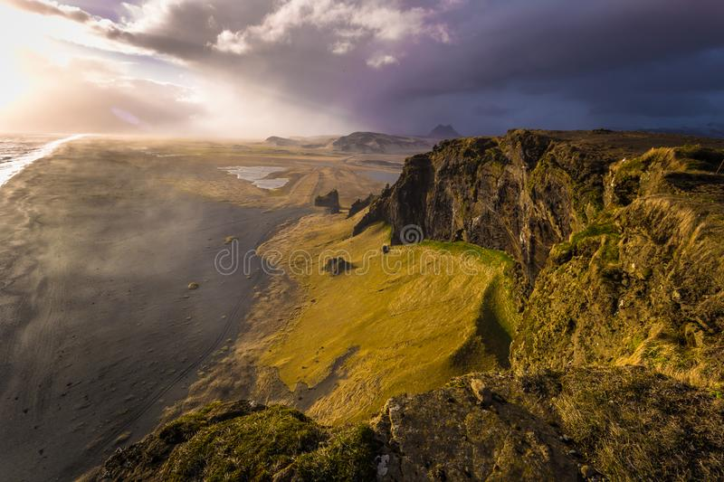 Dyrholaey - May 04, 2018: Coast of Dyrholaey, Iceland stock photography