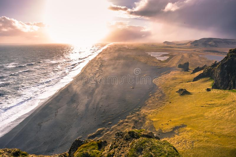 Dyrholaey - May 04, 2018: The volcanic coast of Dyrholaey, Iceland stock photos