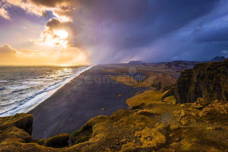 Dyrholaey - May 04, 2018: Landscape of cape Dyrholaey, Iceland stock images