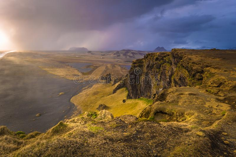 Dyrholaey - May 04, 2018: Landscape of cape Dyrholaey, Iceland royalty free stock photos