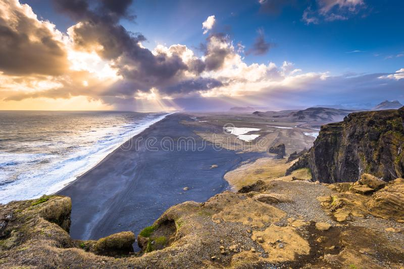 Dyrholaey - May 04, 2018: Landscape of cape Dyrholaey, Iceland royalty free stock images