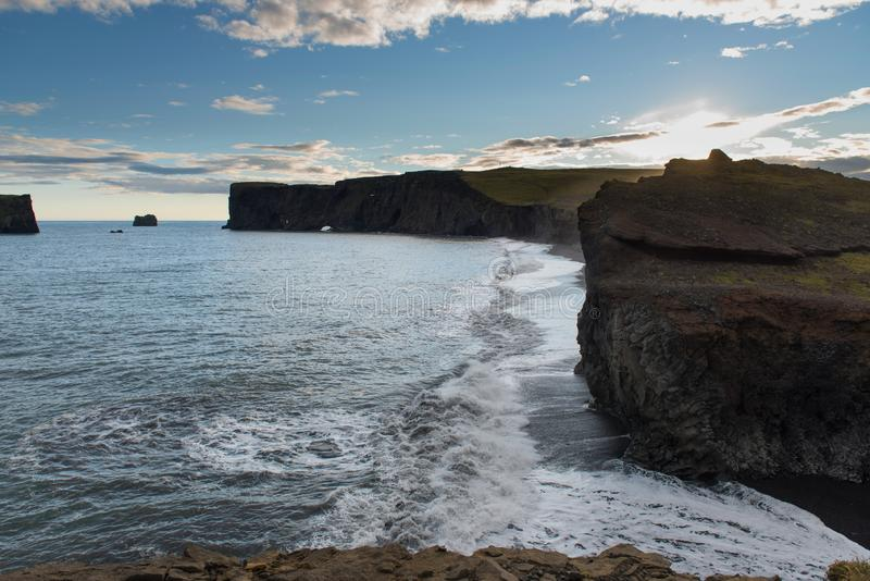 Dyrholaey promontory a popular tourist. Spot on the south coast of Iceland stock images