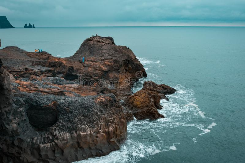 Dyrholaey small peninsula, located on the south coast of Iceland royalty free stock photography