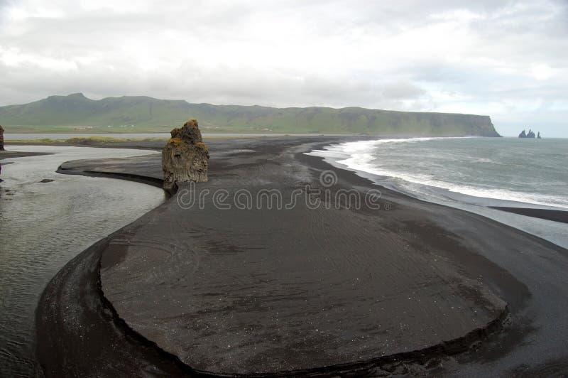 Dyrholaey at southern Iceland. Black, volcanic beach at Dyrholaey, southern Iceland royalty free stock photo