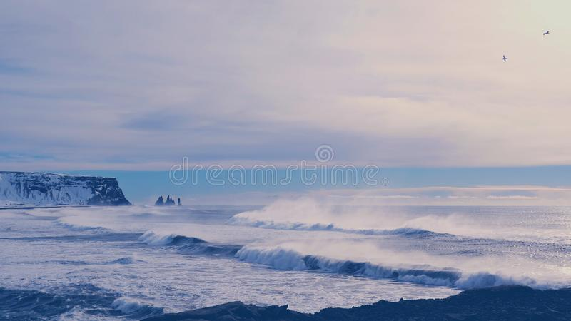 Dyrholaey at sundown Iceland. Dyrholaey, Iceland at sunset on a winter night royalty free stock photo