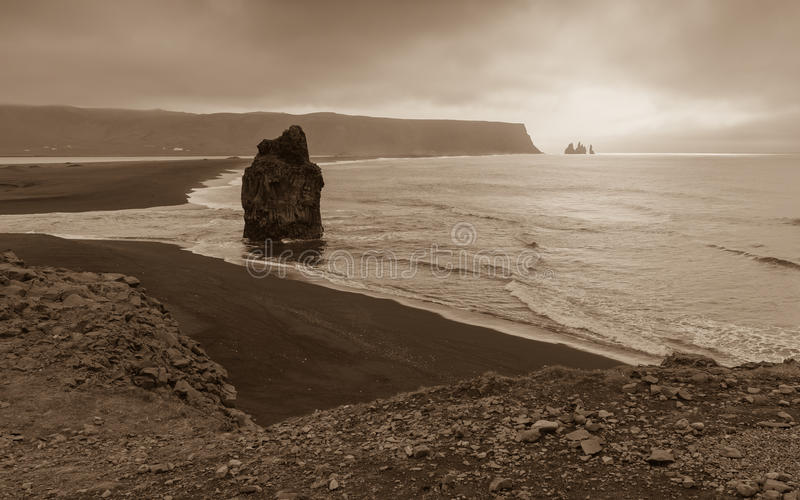 Dyrholaey. View from the cliffs of Dyrholaey on Reynisdrangar stock image