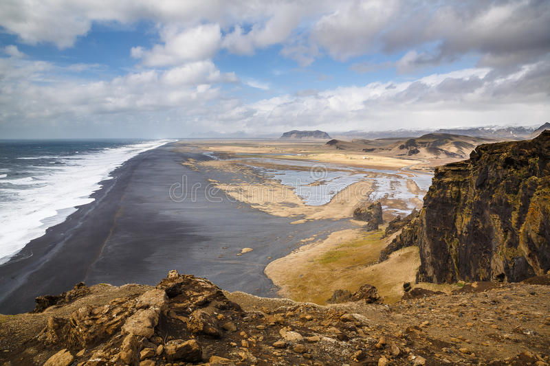 Dyrholaey, the view west. The view west from Dyrholaey lighthouse on Icelands south coast royalty free stock photos