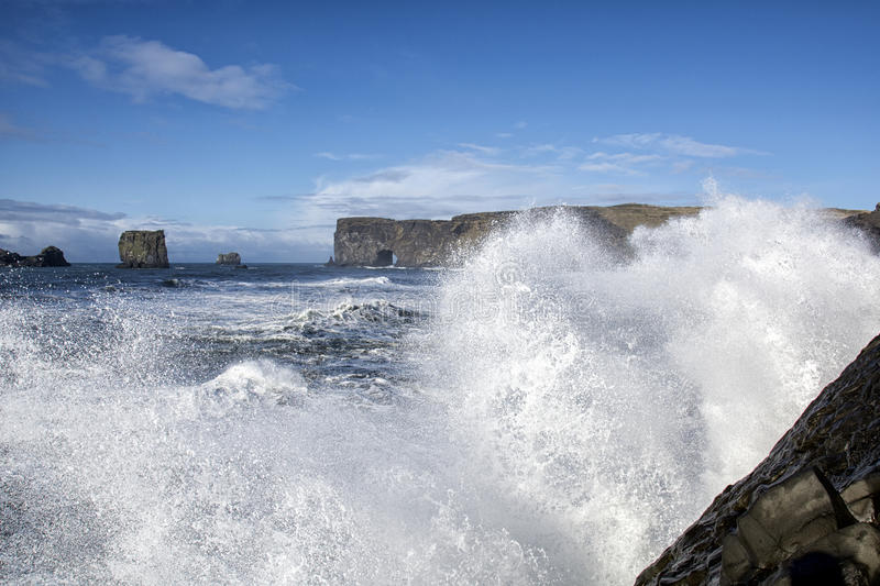 Dyrholaey. Waves at Dyrholaey one of the most famous tourist place in Iceland royalty free stock image