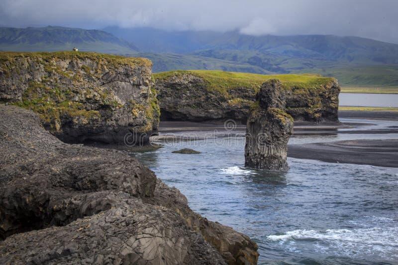 Dyrholay Rocks Iceland. Dyrholaey peninsula Cape Portland South Iceland, Vik royalty free stock photography