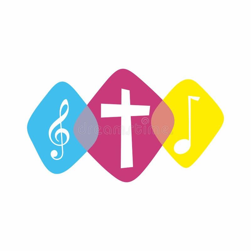 Dyrkanlogo Cristian symboler Dyrkanlogo Cristian symboler Korset av Jesus och musikaliska anmärkningar royaltyfri illustrationer