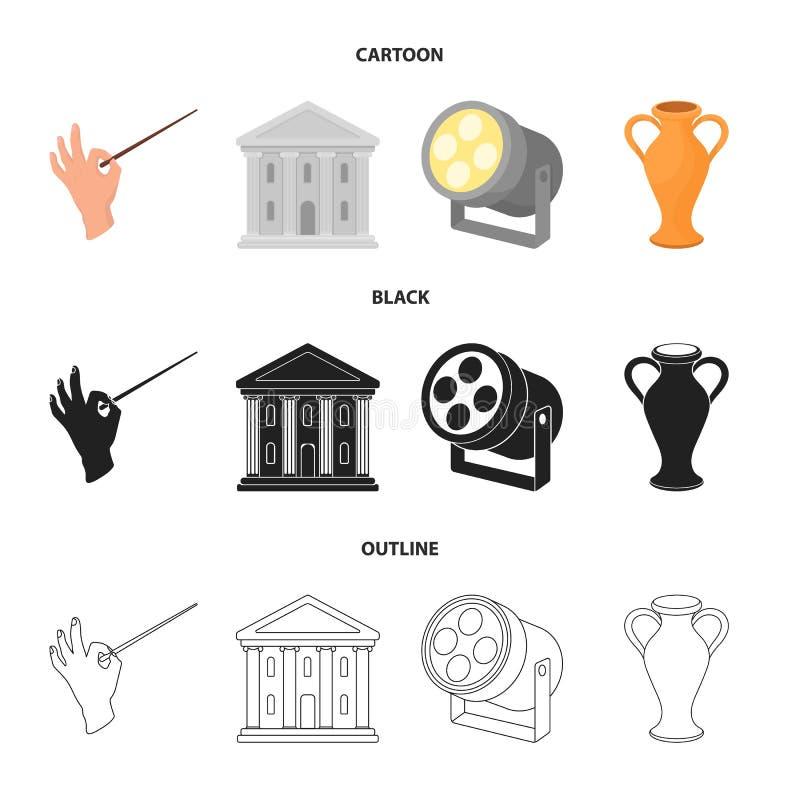 Dyrygent batuta, teatru budynek, reflektor, amfora Theatre ustalone inkasowe ikony w kreskówce, czerń, konturu styl ilustracji