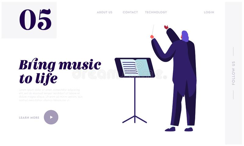 Dyrygent Jest ubranym smokingu mienia kij przy Muzycznym stojakiem, orkiestry symfonicznej muzyki klasycznej koncerta spełnianie  royalty ilustracja