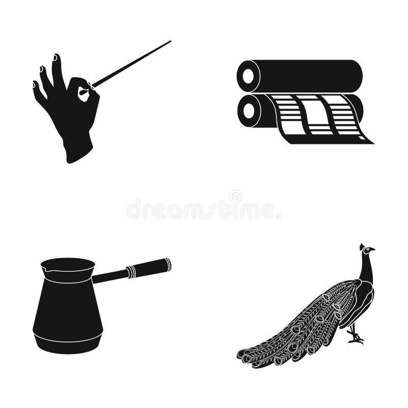 Dyrygenta ` s batuta, drukowy dom i inna sieci ikona w czerni, projektujemy kawowy producent, pawie ikony w ustalonej kolekci royalty ilustracja