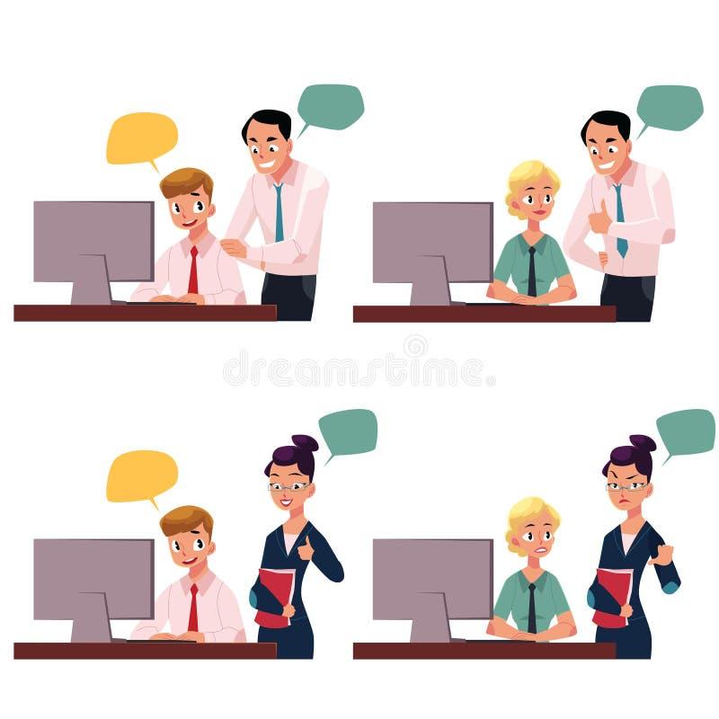 Dyryguje dyrekcyjnego pracownika pracuje na komputerze, zatwierdzający, nie pochwalać gest ilustracja wektor