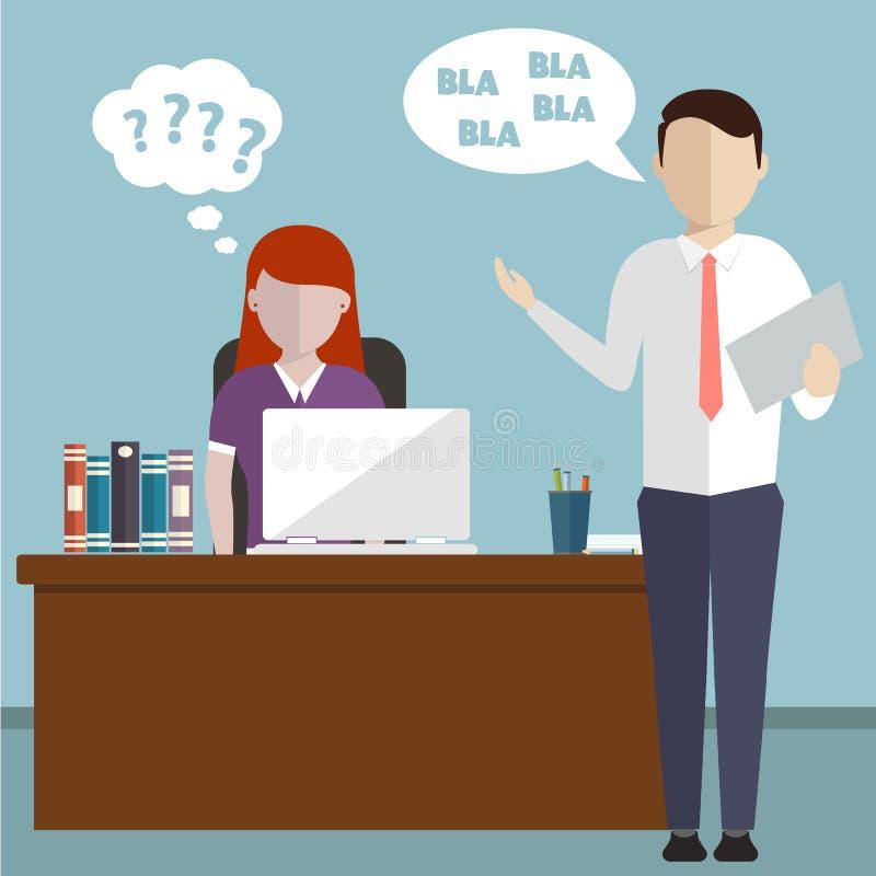 Dyryguje mieć argument z pracownikiem nad projektem, wywierającym nacisk brakiem czasu ostateczny termin, krzyczy przy pracowniki ilustracji