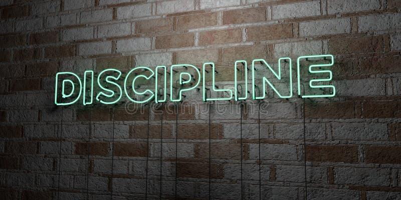 DYSCYPLINA - Rozjarzony Neonowy znak na kamieniarki ścianie - 3D odpłacająca się królewskości bezpłatna akcyjna ilustracja ilustracja wektor