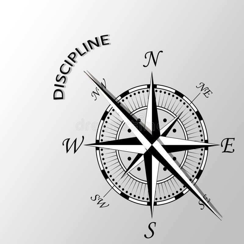 Dyscyplina słowo pisać na boku kompas royalty ilustracja