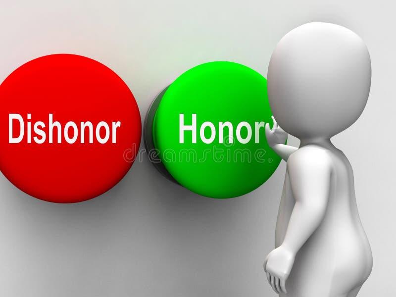 Dyshonoru honor Zapina przedstawienie morały I prawość ilustracji