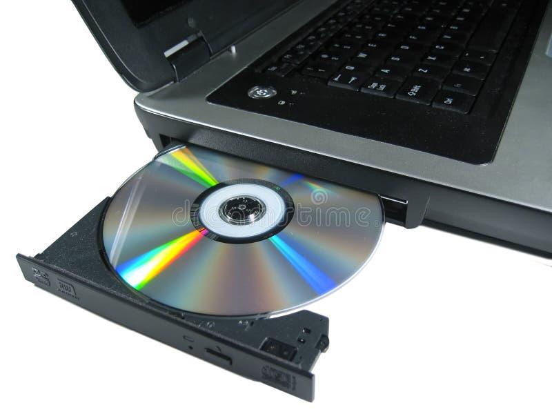 dysk dvd odizolowane od laptopa otworzył show zdjęcie royalty free