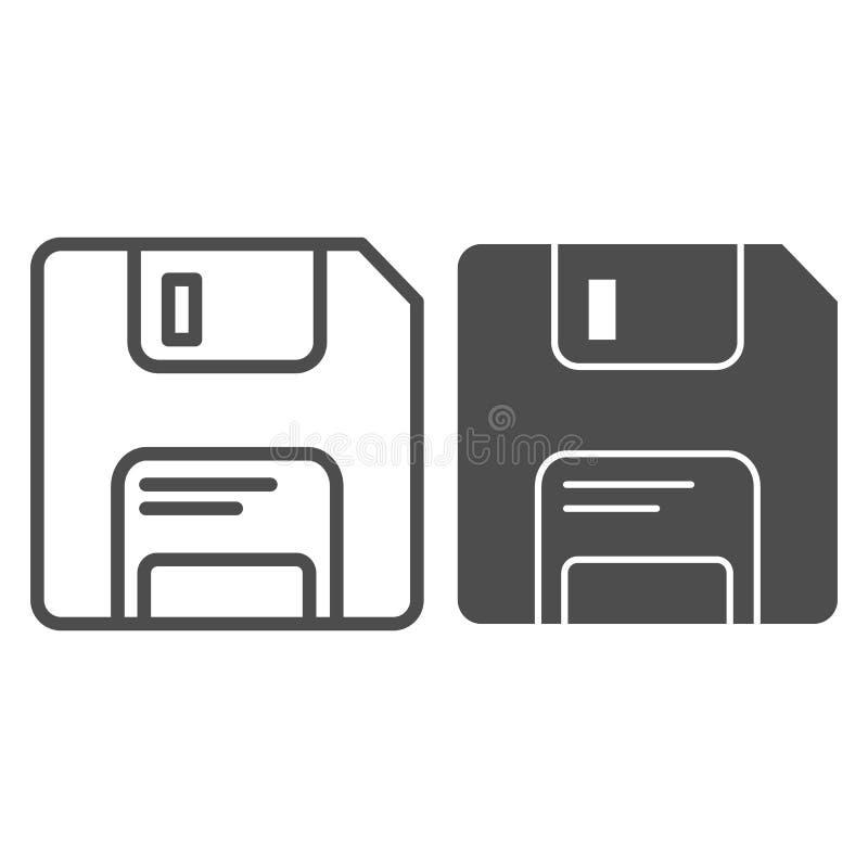 Dyskietki linia i glif ikona Pamięci wektorowa ilustracja odizolowywająca na bielu Dane konturu stylu projekt, projektujący dla s ilustracja wektor
