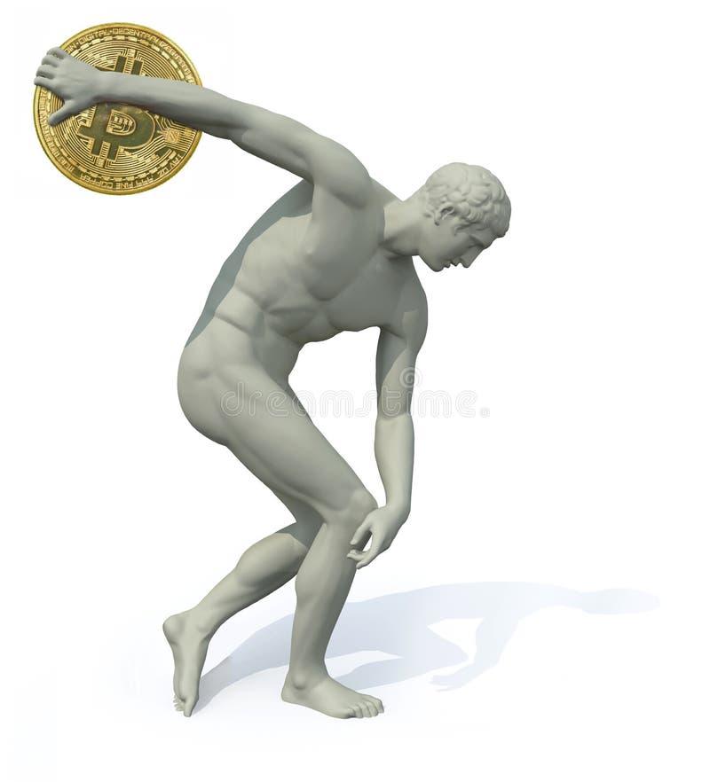 Dyskobol z bitcoin wszczynać royalty ilustracja
