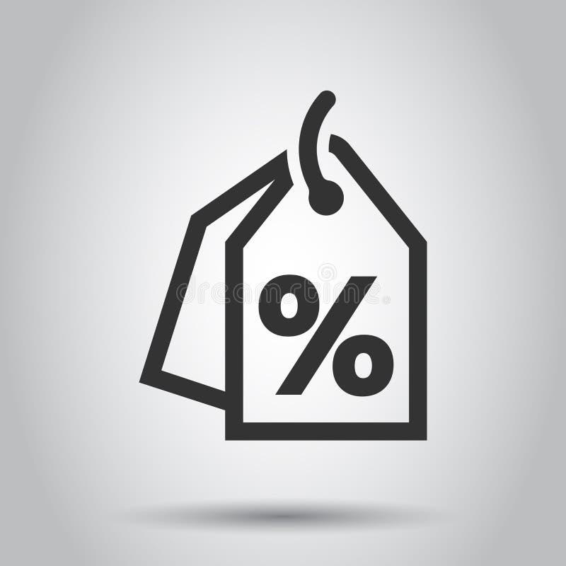 Dyskontowa procent etykietki ikona w mieszkanie stylu Ceny sprzedaży ilustracja na białym tle Promocyjny talonowy pojęcie royalty ilustracja