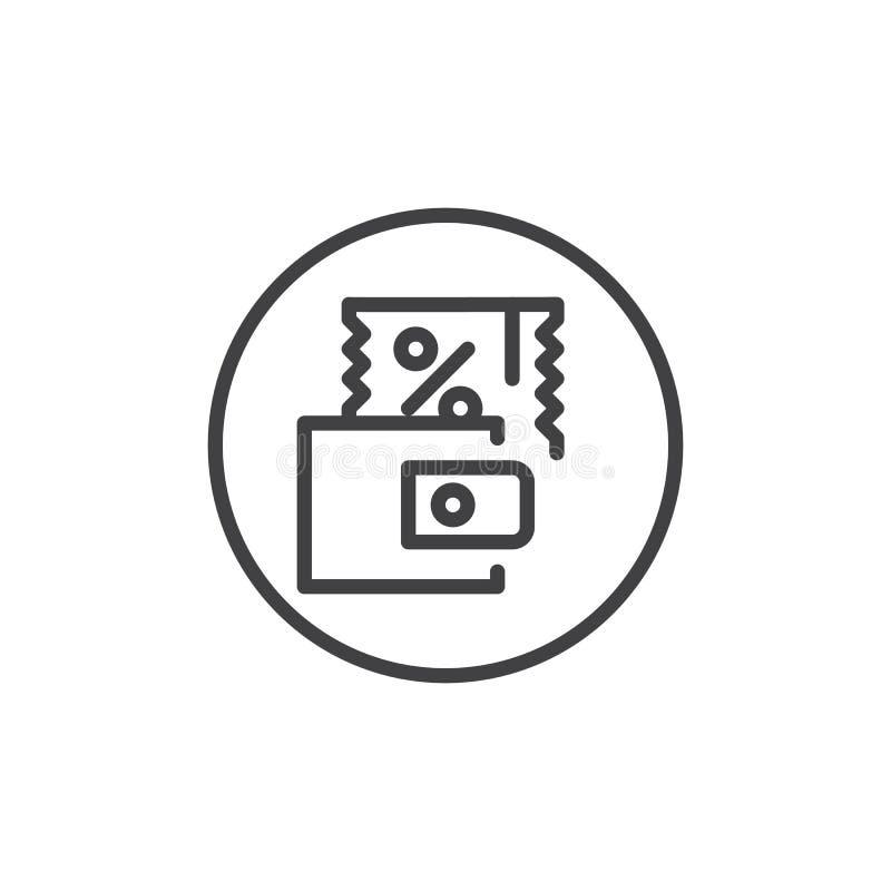 Dyskontowa talon linii ikona ilustracji