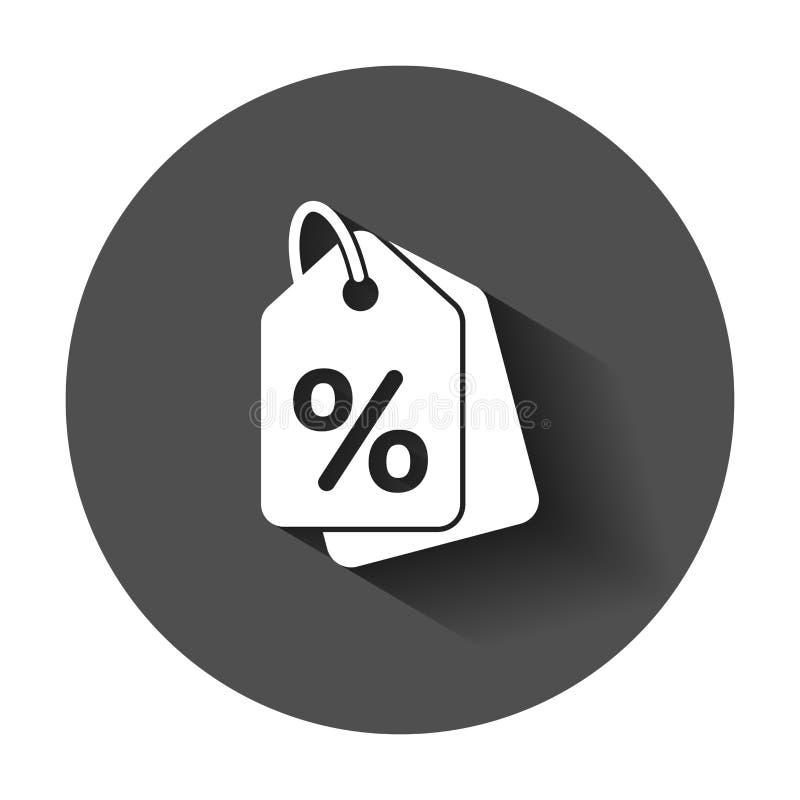 Dyskontowa zakupy etykietki ikona w mieszkanie stylu Dyskontowy procentu coupo ilustracji